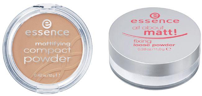Essence Mattifying Compact Powder Kleur: 09 Soft Tan Prijs: €2,99 Essence All About Matt! Fixing Loose Powder Prijs: €2,99
