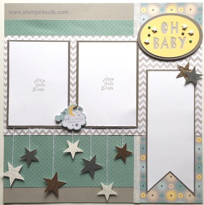 Oh Baby Scrapbook Page using Close To My Heart's Georgie Paper Packet. Designed by Becca Buck (1st layout ever!) www.stampinbuds.com