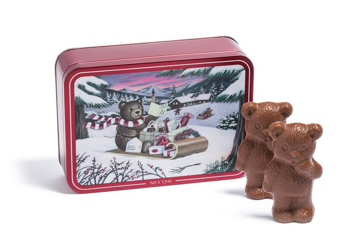 Limited edition #Christmas Teddy Tin filled with six solid milk chocolate teddies. #gift #kids #youngatheart #haighsonline #cute #collectible #haighs #premium #fun