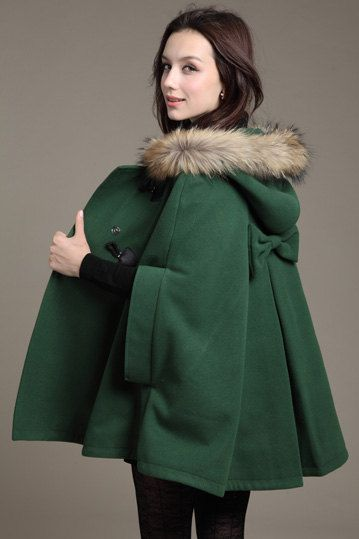 Dark Green Hoodie Cashmere Coat Double Breasted Hooded Wool Winter Cape Coat Wool Winter Jacket for Women. $75.00, via Etsy.