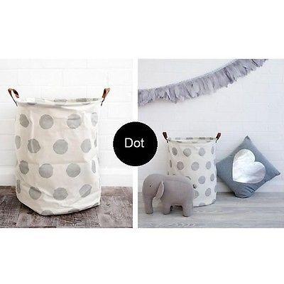 Kids Baby Bedroom Toys Storage Canvas Basket Bin Hamper Bag Organizer Box New