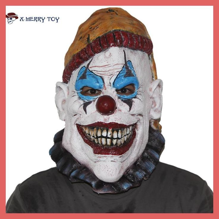 X-Merry Toy Scary Killer Clown Insano Latex Over Head Horror Halloween Mask Adult x12052