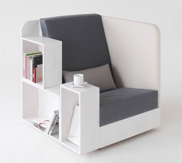 Furniture Thatu0027s A Chair, Bookshelf, Lap Desk, Side Table U0026 Magazine Rack  All In One, While At The Same Time Giving You A Little Bit Of Privacy On  One Side.