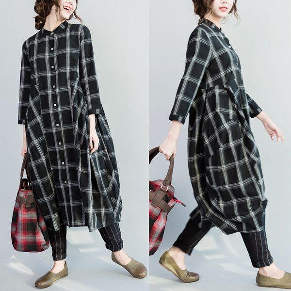 Women spring cotton shirt dress - Tkdress  - 1