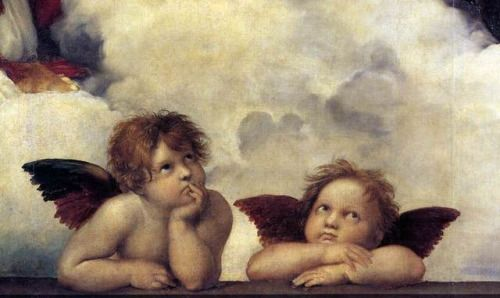 """ Putti, detail from The Sistine Madonna via Raphael Medium: oil, canvas"""