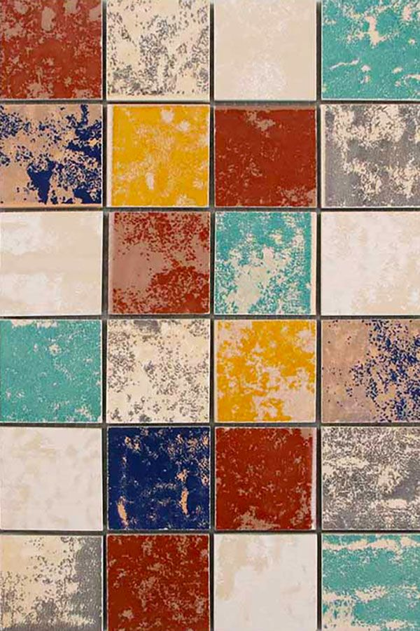 Square Vintage Unglazed Ceramic Tile In
