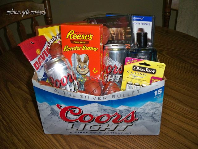 Men's Easter Basket Idea.. would use bud light instead.