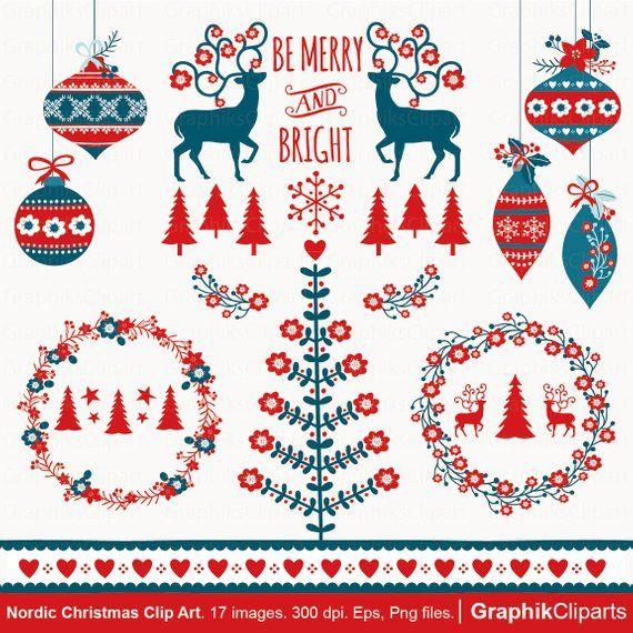 Nordic Christmas Clipart Chrismtas Clip Art Scandinavian Etsy In 2020 Christmas Clipart Nordic Christmas Christmas Graphics