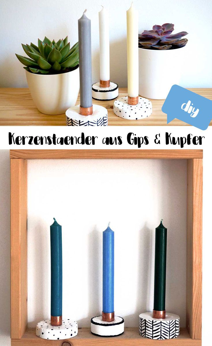 DIY Kerzenständer aus Gips & Kupfer: Coole Deko für den Herbst zum selbermachen, die DIY Anleitung findest du auf hejhurra.de