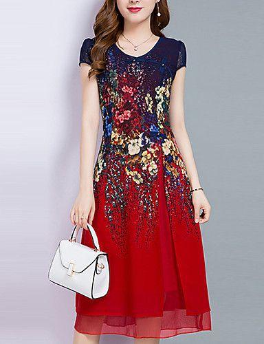 Mujer Línea A Gasa Vestido Noche Tallas Grandes Vintage Sofisticado,Estampado Escote Corazón Midi Manga Corta Poliéster Verano Tiro Medio 5855200 2017 – $16.09