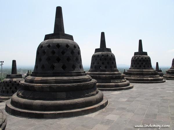 More stupas at Borobudur temple, Magelang, Central Java.
