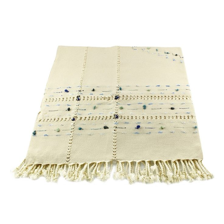 NATURAL HANDMADE TABLE CLOTH WITH POM POM, 004