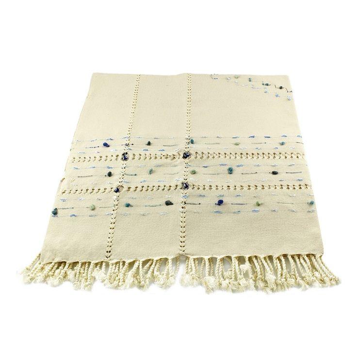 NATURAL HANDMADE TABLE CLOTH WITH POM POM, 004