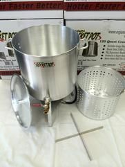 The ALL-INCLUSIVE Seafood Boiling Pot | Cajun Rocket Pot 40-140 Qt. PRO Seafood Pot w/Basket, Burner, Lid, and Drain Valve. Crawfish season never tasted better!