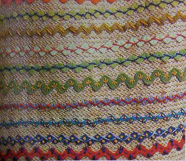 Embroidery on ric rac