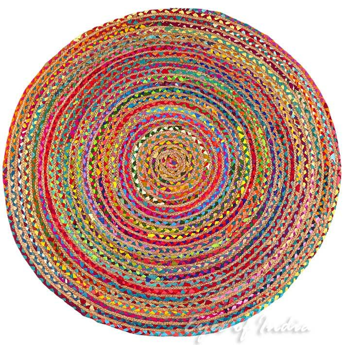 Round Colorful Tan Natural Jute Sisal Woven Area Braided Boho Rug - 4 ft, 5 ft | Jute Rugs | Eyes of India natural fiber rug natural area rugs