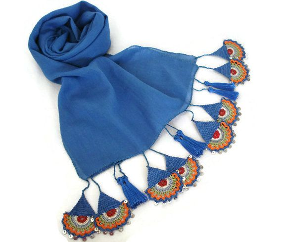 Scarf Turkish-Anatolian Oya Scarf Hand Crocheted Lace Scarf Blue Soft Cotton Scarf Ethnic Scarf Authentic Scarf Turkish Scarf Headband