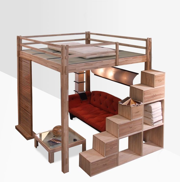 Cama alta de madeira YEN | Cama alta - Cinius                                                                                                                                                      Mais