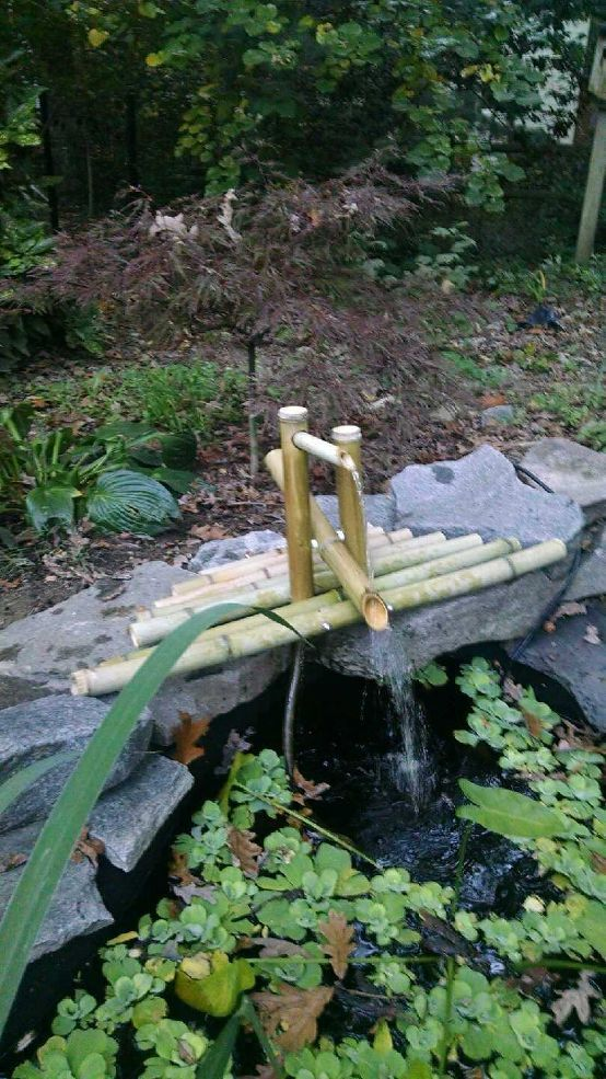DIY Clacking Bamboo Water Feature - I have always wanted to a clacking bamboo water feature. I had read that it scares the deer away and thought what a great wa…