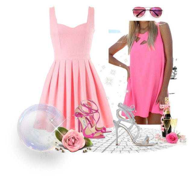 Pink Dress by siempreguapaconnormacano on Polyvore featuring moda, Jimmy Choo and Chelsea Paris