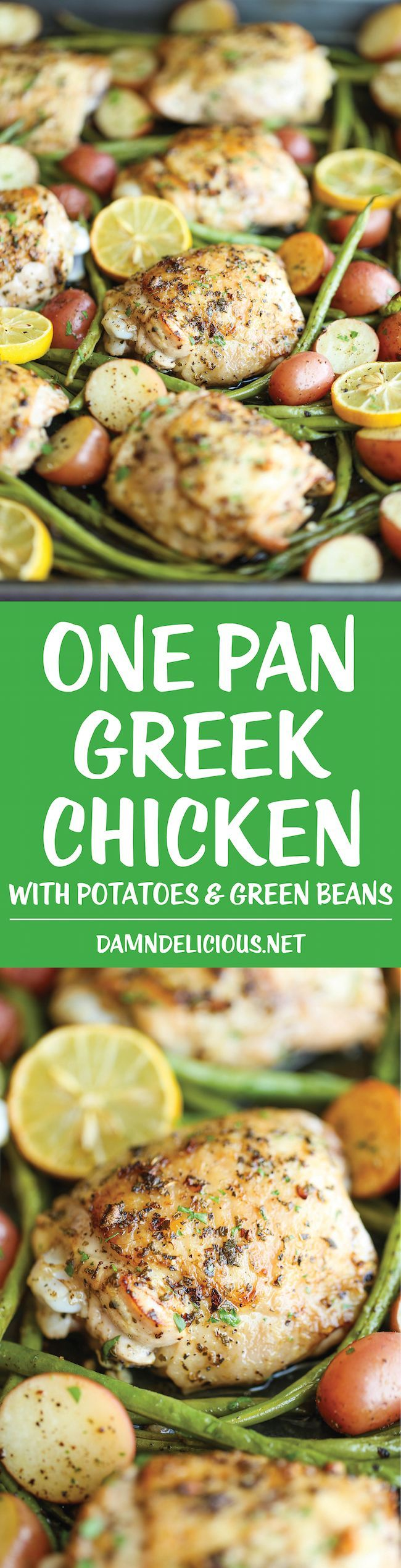 One Pan Greek Chicken - The easiest no-fuss weeknight meal with a simple Greek marinade - all cooked on a single pan with roasted potatoes and green beans! I used chicken breasts instead and added Kalama olives with some of their juice. Increase cooking time by 15-20 minutes and put a foil cover the roasting pan for that time to soften the potatoes. family approved recipes, family friendly recipes #recipe