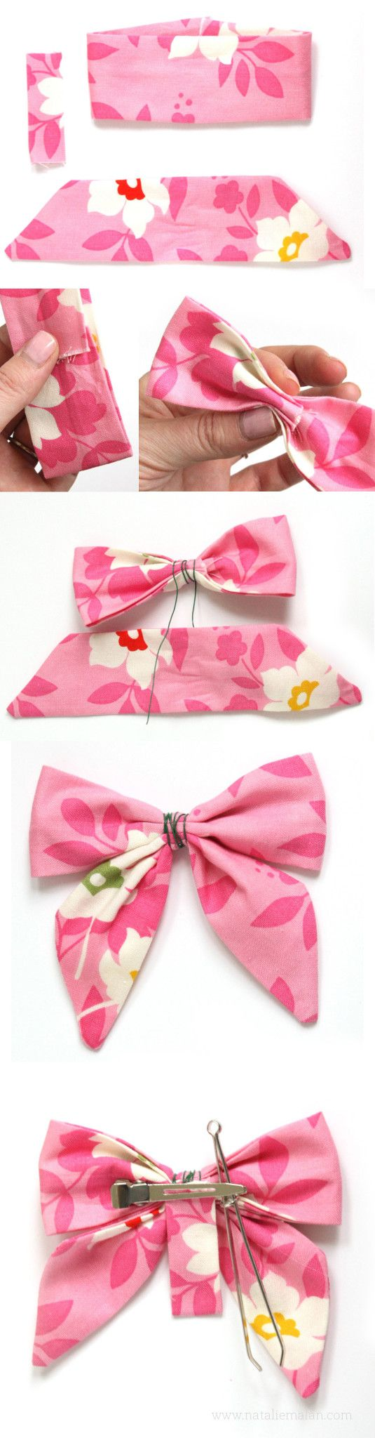 DIY Sailor Bow tutorial and free pattern girls hair bow Dalmatian bow hair bow tutorial template free download |NatalieMalan.com