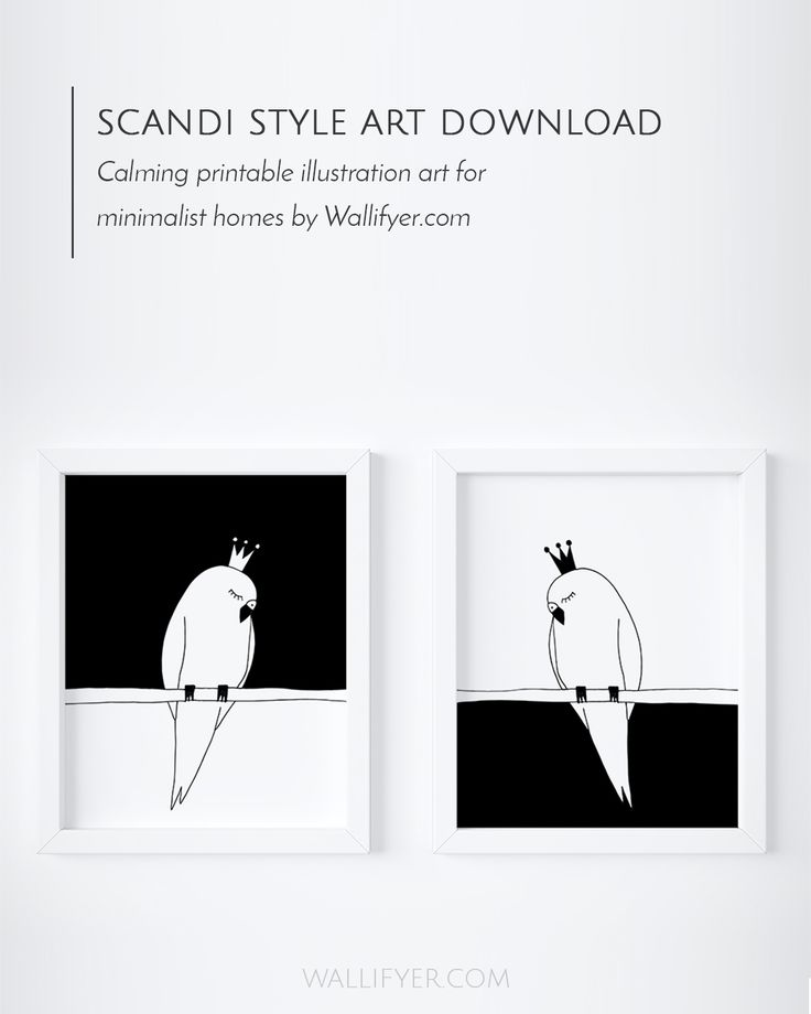 Calming and cute budgie bird wall art in a Scandi style for minimalist homes and decor. Click to get yours!