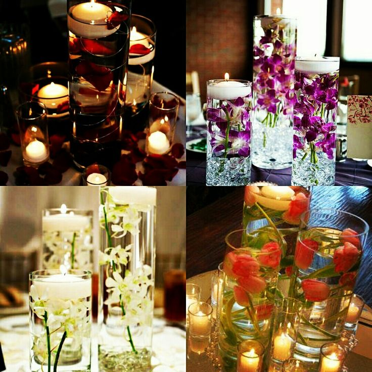 Table centerpieces with elegant vases.  Design your get together with candles, roses, Orchids and Tulips. #homedecor #flowervase #floatingcandles #InspiredFloralCreations #Kanpur
