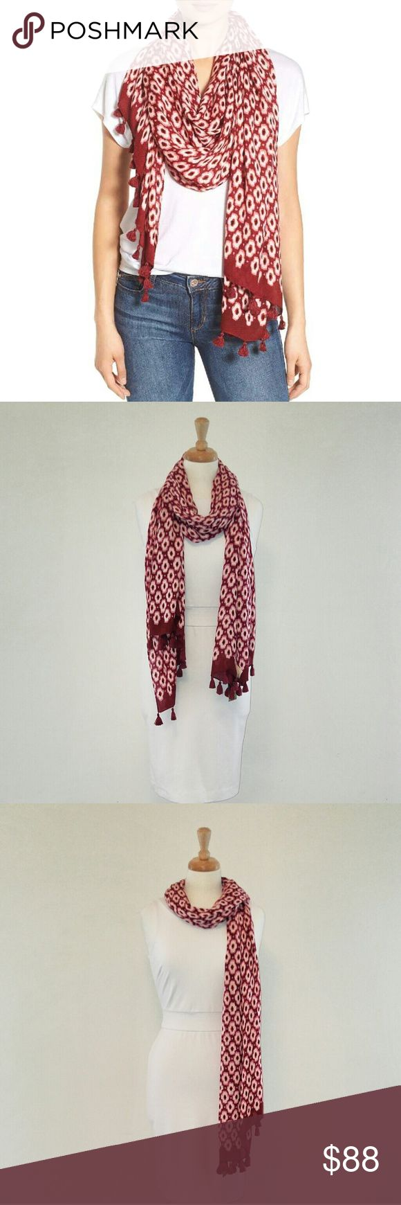 New! Kate Spade Scarf Red Burgundy Extra Large Brand new with tags! This is the beautiful Posy Ikat Oblong Tassel Scarf by designer Kate Spade New York in red chestnut burgundy with tassel edges made of soft comfortable 100% viscose measuring at a generous extra large size 80 x 30 inches this scarf is made of a natural imported flowy fabric and has fabric imperfections throughout. Perfect year round as a scarf, wrap, cape or swimsuit wrap cover up at the pool this Kate Spade style statement…