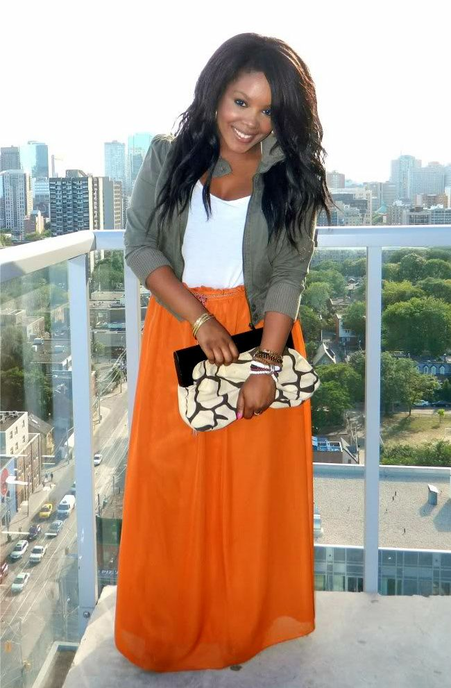 Comfort and style - love this whole look - full skirt with blazer, hi impact clutch, orange...