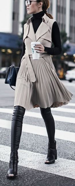 Black turtleneck under a dress to make a winter outfit