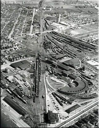 An aerial view of the B's Chillicothe, Ohio yard circa 1940s. My paternal grandfather and great grandfather worked here as B&O engineers.