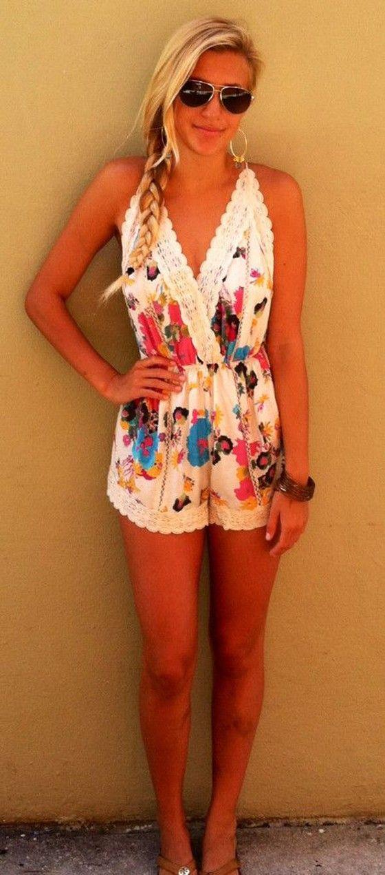 Multicolor Floral Patchwork Lace Backless Short Jumpsuit