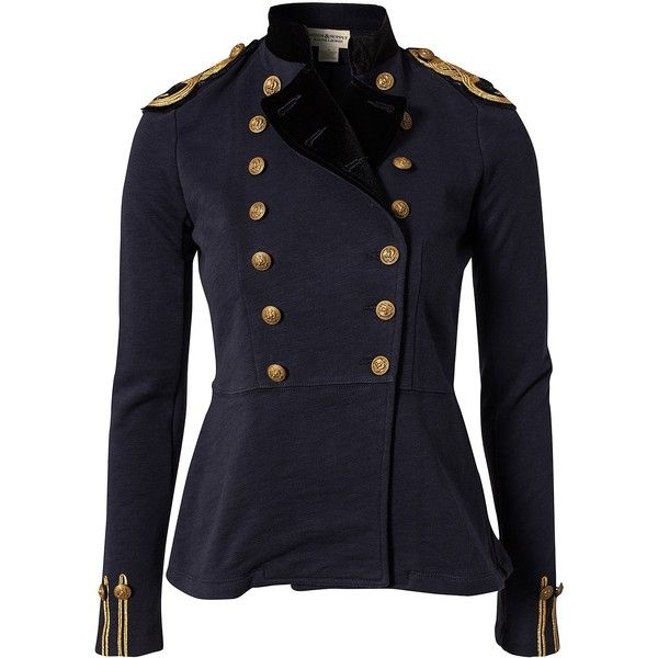Denim & Supply Ralph Lauren Officer Jacket ($195) ❤ liked on Polyvore featuring outerwear, jackets, coats, coats & jackets, navy, womens-fashion, cotton jacket, embroidered jacket, collar jacket and tall jackets
