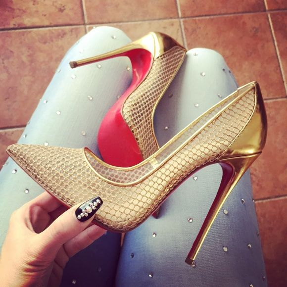 sneaker spikes - ????Christian Louboutin Follies Resille | Gold Pumps, Fishnet ...