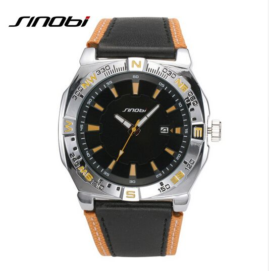 SINOBI Luxury Brand Watch Waterproof 30 M Fashion Sports Watch Men Military Watches Leather Auto Date Quartz-Watch Clock Hour Like and share! Get it here