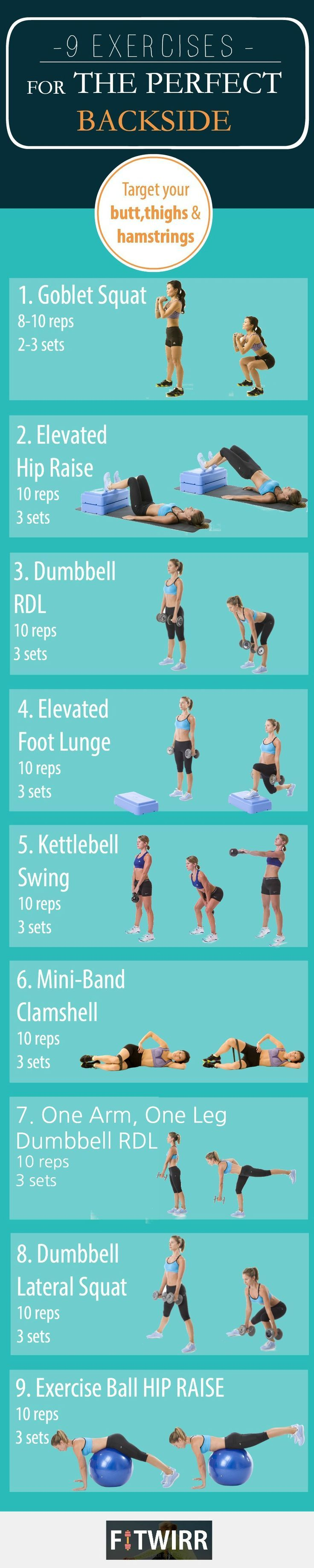 9 butt exercises to sculpt and lift your backside(glutes). Perform 2-3 sets of each exercises for maximum results.