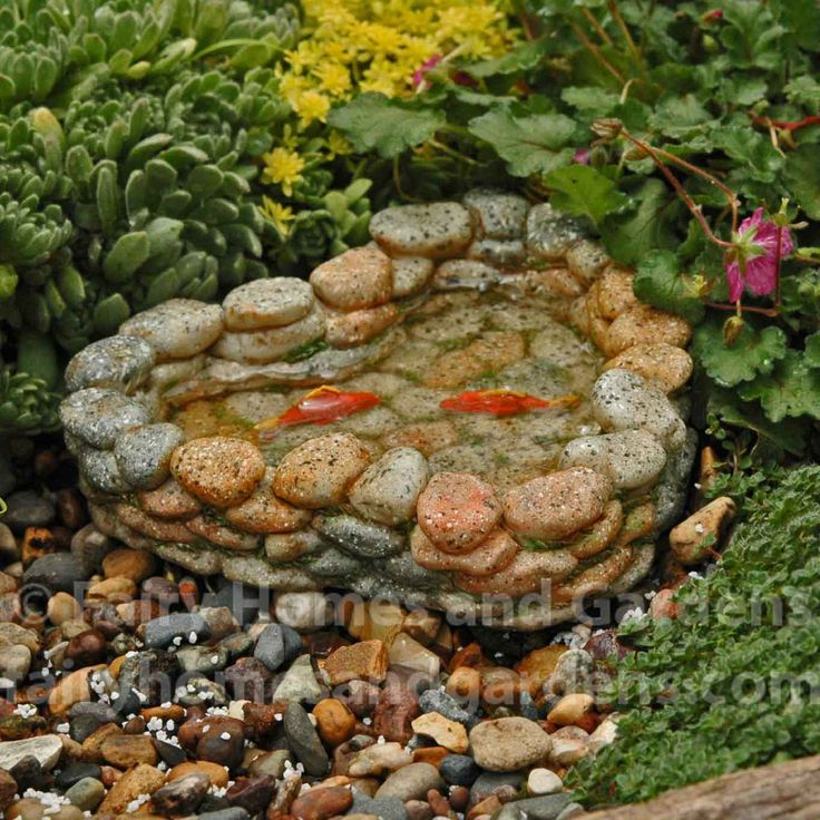 "Miniature Koi Pond Two bright orange Koi swim in the crystal clear water with a back fin just breaking the water.  This realistic rock pond is 5"""" across and 1 1/8"""" high."