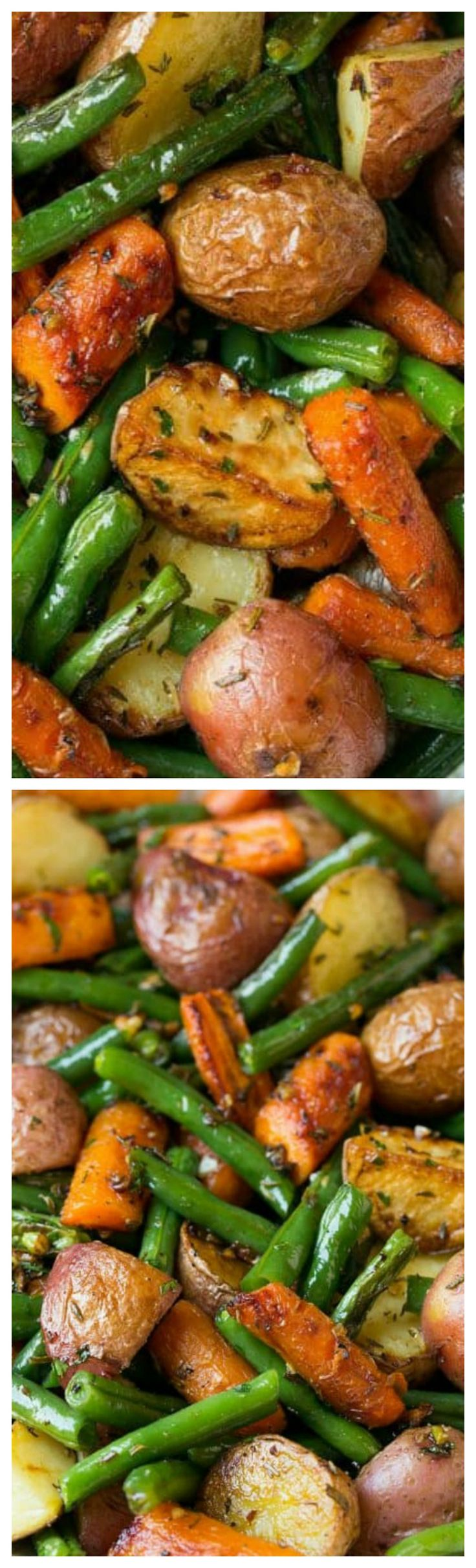 Garlic Herb Roasted Potatoes Carrots and Green Beans ~ This simple veggie blend of potatoes, carrots and green beans is seasoned with a delicious garlic and fresh herb blend then roasted to perfection (halloween appetizers veggies)