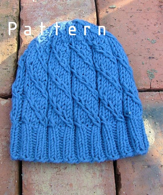 Knitting Pattern-Blue Hat for Boys/Adults