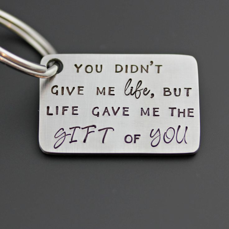 ADOPTED DAD GIFT - You Didn't Give Me Life, But Life Gave Me The Gift Of You - Hand Stamped Stainless Steel Keychain by www.TinyEpicMoments.com father's day gift keychain step dad step-father gift adoption gift mother's day gift