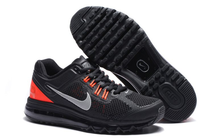 Mens Nike Air Max 2013 Black Reflective Silver Total Crimson Shoes