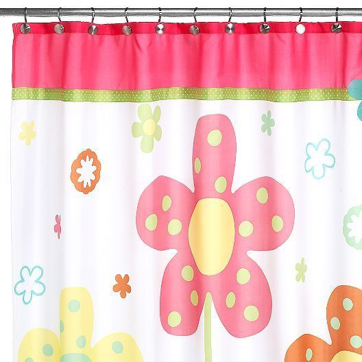 Pic On Allure Dancing Flower Girl Bathroom Fabric Shower Curtain White Pink Boho Chic
