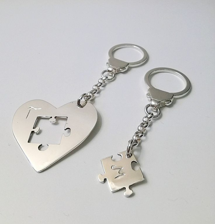Sterling silver heart-puzzle keychain, keyrings, love, Valentine's day