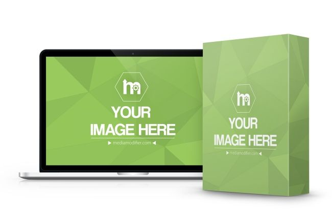 Mockup With A Software Product Box Standing In Front Of A Macbook Laptop Use This Template To Promote Your Digital Product Box Mockup Mockup Generator Mockup