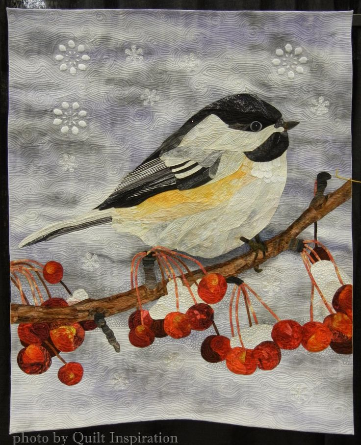 Winter Chickadee by Diane Hansen. First Place, Applique-Small, 2015 AZQG.  Original design, started in a class with David Taylor.  Photo by Quilt Inspiration.