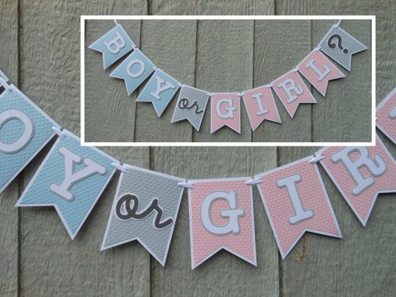Boy or Girl Banner Shower / Gender Reveal Party Decoration Blue ...