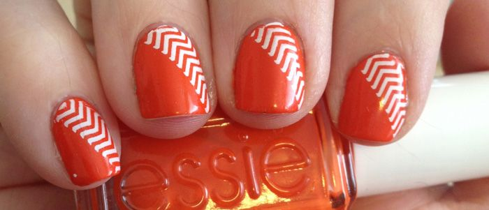 Orange Diagonal ChevronDiagon Chevron, Nails Art, French Manicures, Orange Diagon, Nails Manicures, French Tips, Orange Chevron, French Tip Nails, Chevron Nails