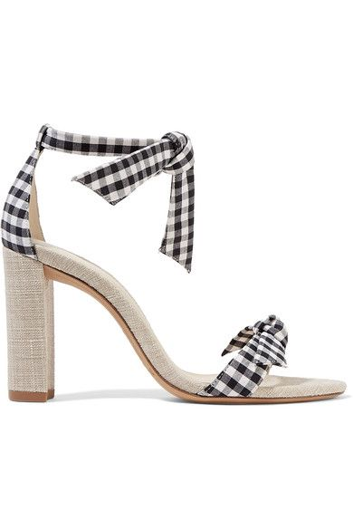[Alexandre Birman, Clarita Bow-embellished Gingham And Canvas Sandals]