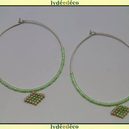 Boucles d'oreilles créoles argent 925 rondes tissage de perles japonaises beige vert lumineux diamètre 45mm